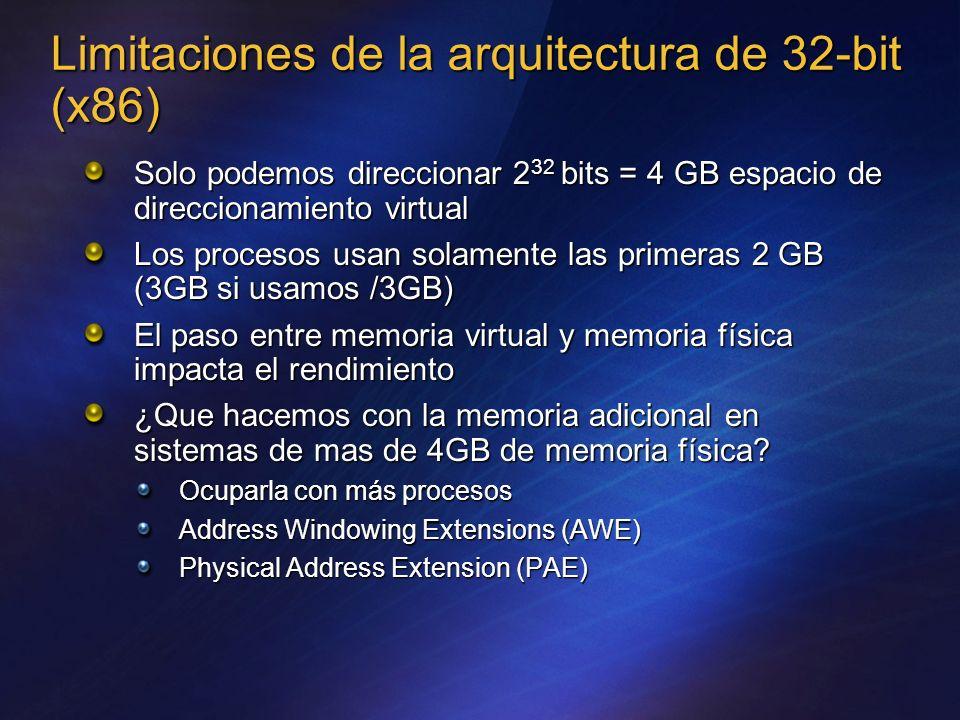 Limitaciones de la arquitectura de 32-bit (x86) Solo podemos direccionar 2 32 bits = 4 GB espacio de direccionamiento virtual Los procesos usan solame