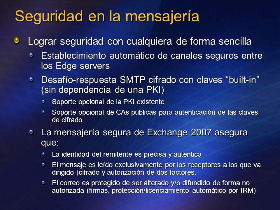 Seguridad en la mensajería Lograr seguridad con cualquiera de forma sencilla Establecimiento automático de canales seguros entre los Edge servers Desa