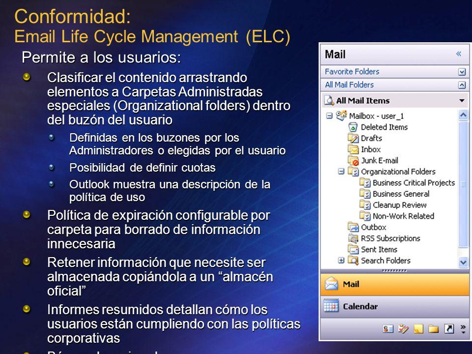 Conformidad: Email Life Cycle Management (ELC) Permite a los usuarios: Clasificar el contenido arrastrando elementos a Carpetas Administradas especial