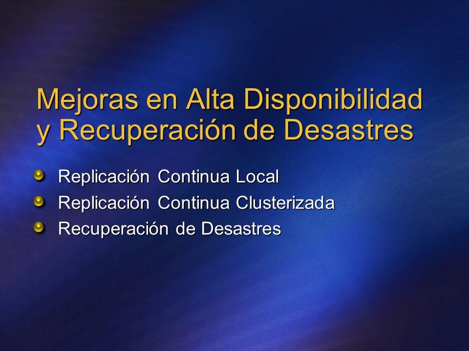 Mejoras en Alta Disponibilidad y Recuperación de Desastres Replicación Continua Local Replicación Continua Clusterizada Recuperación de Desastres
