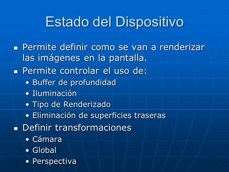 Estado del Dispositivo Permite definir como se van a renderizar las imágenes en la pantalla. Permite definir como se van a renderizar las imágenes en