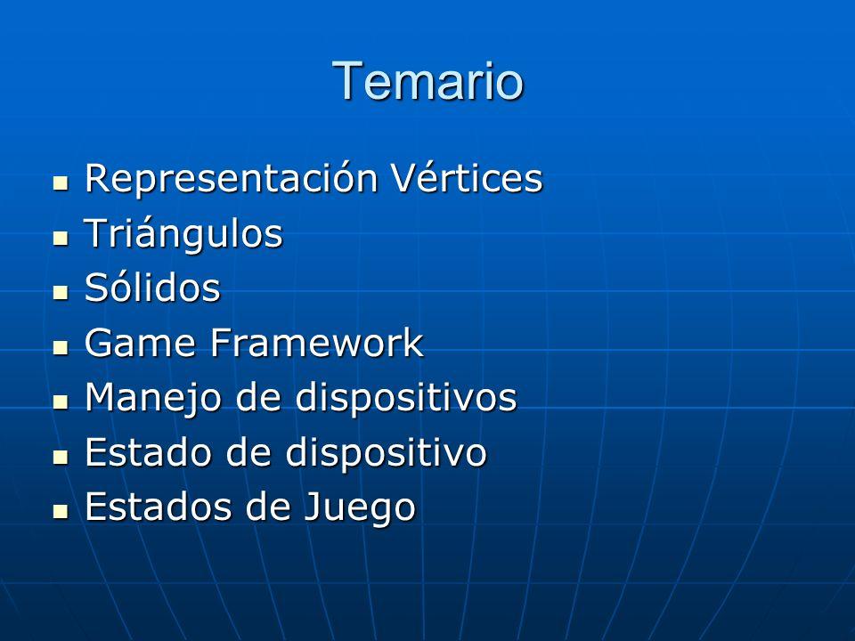 Temario Representación Vértices Representación Vértices Triángulos Triángulos Sólidos Sólidos Game Framework Game Framework Manejo de dispositivos Man