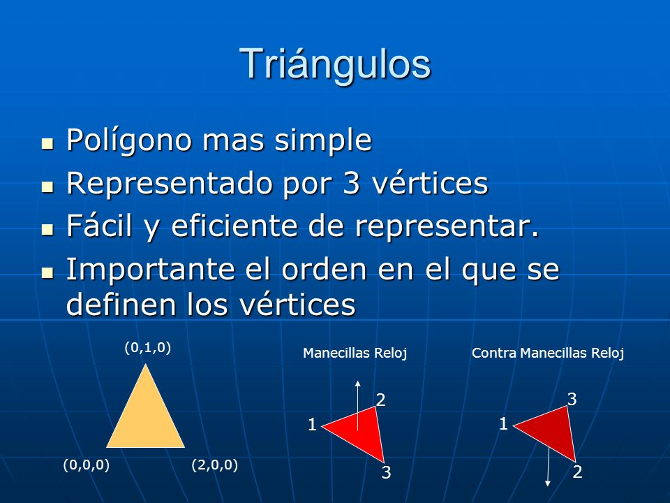 Triángulos Polígono mas simple Polígono mas simple Representado por 3 vértices Representado por 3 vértices Fácil y eficiente de representar. Fácil y e