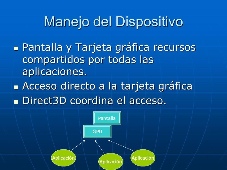 Manejo del Dispositivo Pantalla y Tarjeta gráfica recursos compartidos por todas las aplicaciones. Pantalla y Tarjeta gráfica recursos compartidos por