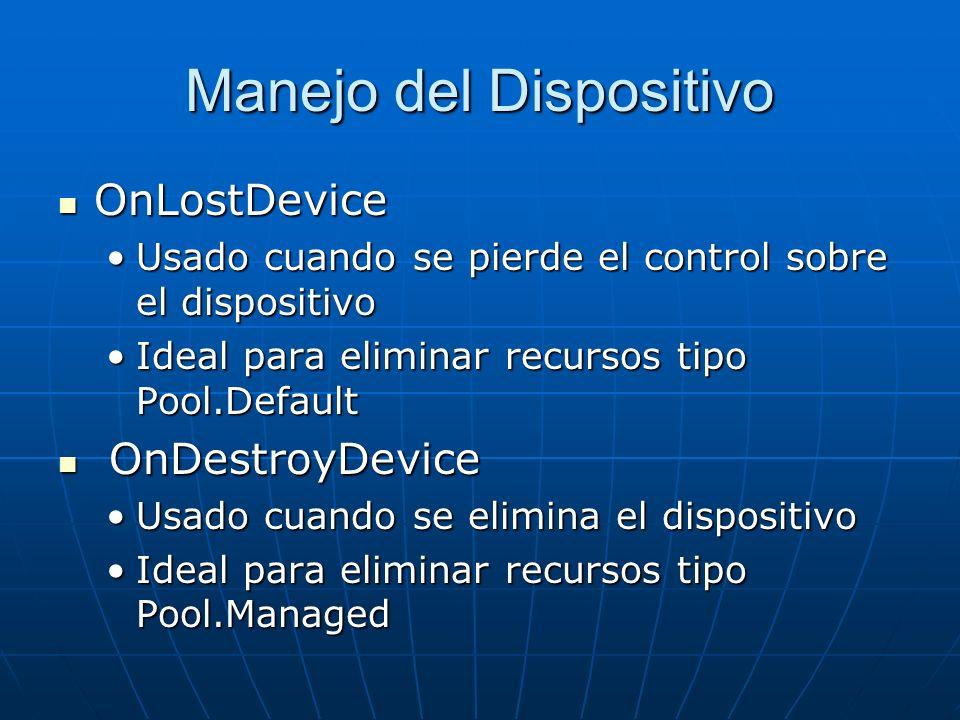 Manejo del Dispositivo OnLostDevice OnLostDevice Usado cuando se pierde el control sobre el dispositivoUsado cuando se pierde el control sobre el disp