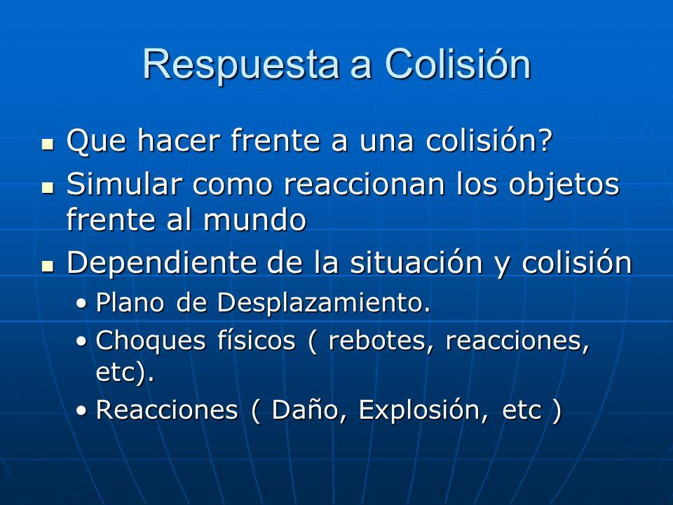Respuesta a Colisión Que hacer frente a una colisión? Que hacer frente a una colisión? Simular como reaccionan los objetos frente al mundo Simular com