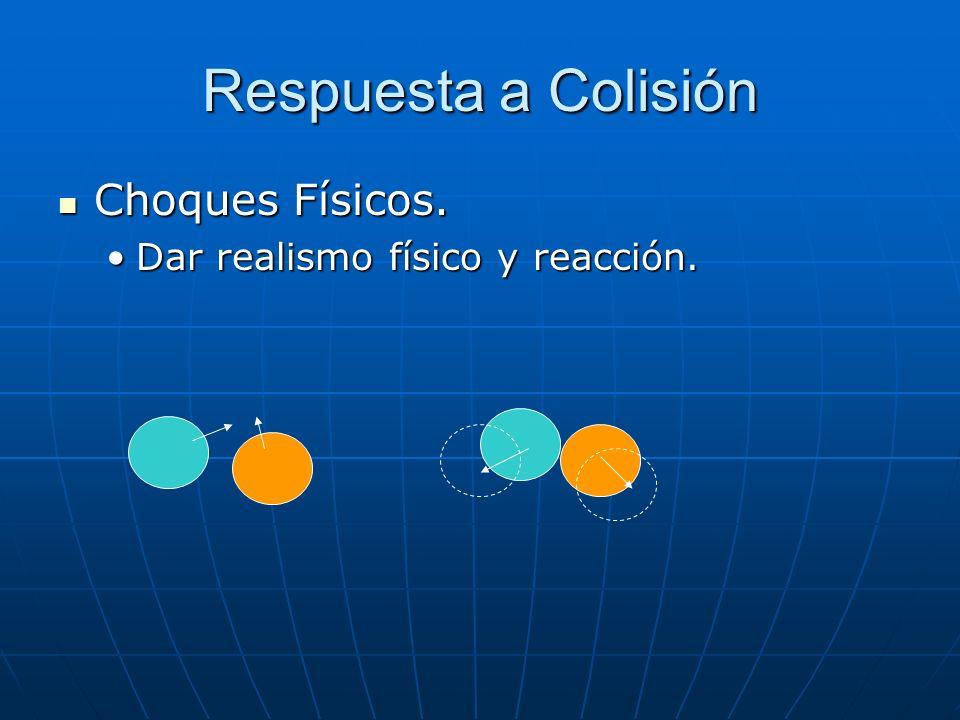 Respuesta a Colisión Choques Físicos. Choques Físicos. Dar realismo físico y reacción.Dar realismo físico y reacción.
