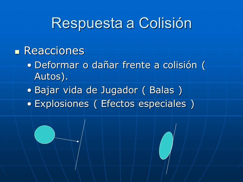 Respuesta a Colisión Reacciones Reacciones Deformar o dañar frente a colisión ( Autos).Deformar o dañar frente a colisión ( Autos). Bajar vida de Juga