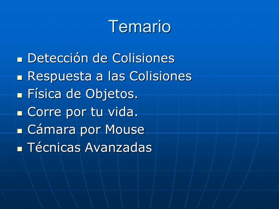 Temario Detección de Colisiones Detección de Colisiones Respuesta a las Colisiones Respuesta a las Colisiones Física de Objetos. Física de Objetos. Co