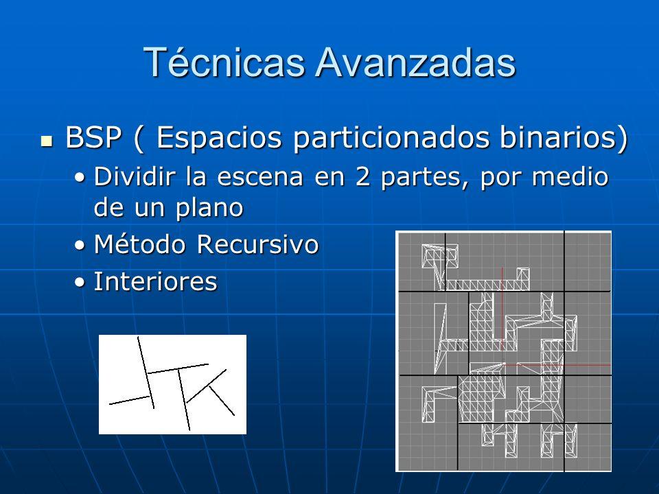 Técnicas Avanzadas BSP ( Espacios particionados binarios) BSP ( Espacios particionados binarios) Dividir la escena en 2 partes, por medio de un planoD