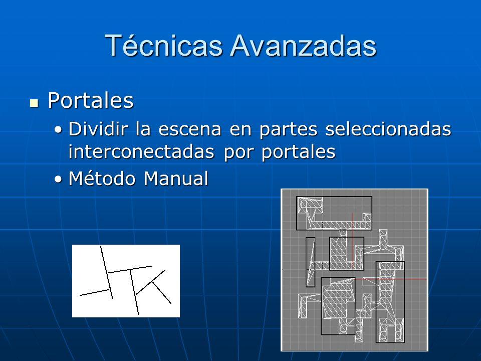Técnicas Avanzadas Portales Portales Dividir la escena en partes seleccionadas interconectadas por portalesDividir la escena en partes seleccionadas i