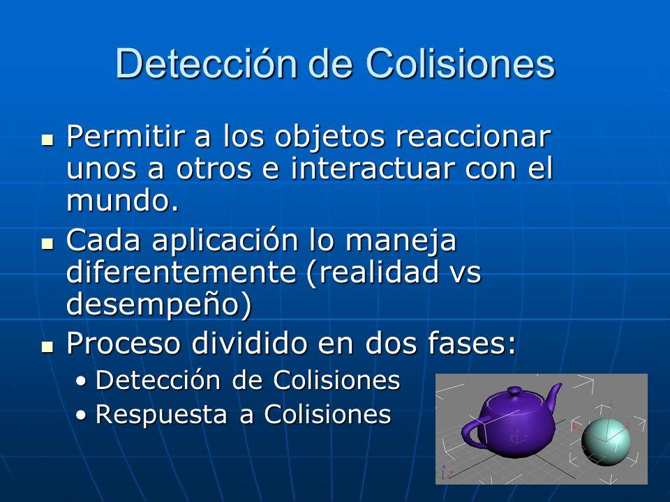 Detección de Colisiones Permitir a los objetos reaccionar unos a otros e interactuar con el mundo. Permitir a los objetos reaccionar unos a otros e in