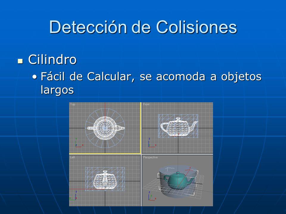 Detección de Colisiones Cilindro Cilindro Fácil de Calcular, se acomoda a objetos largosFácil de Calcular, se acomoda a objetos largos