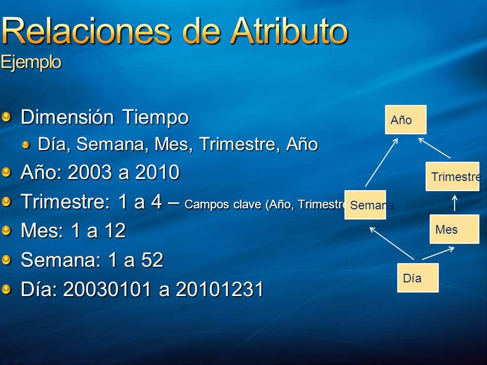 Dimensión Tiempo Día, Semana, Mes, Trimestre, Año Año: 2003 a 2010 Trimestre: 1 a 4 – Campos clave (Año, Trimestre) Mes: 1 a 12 Semana: 1 a 52 Día: 20