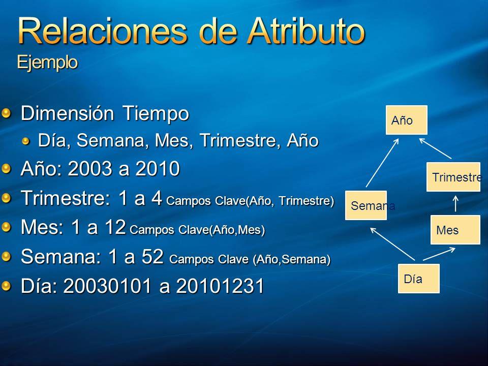 Dimensión Tiempo Día, Semana, Mes, Trimestre, Año Año: 2003 a 2010 Trimestre: 1 a 4 Campos Clave(Año, Trimestre) Mes: 1 a 12 Campos Clave(Año,Mes) Sem