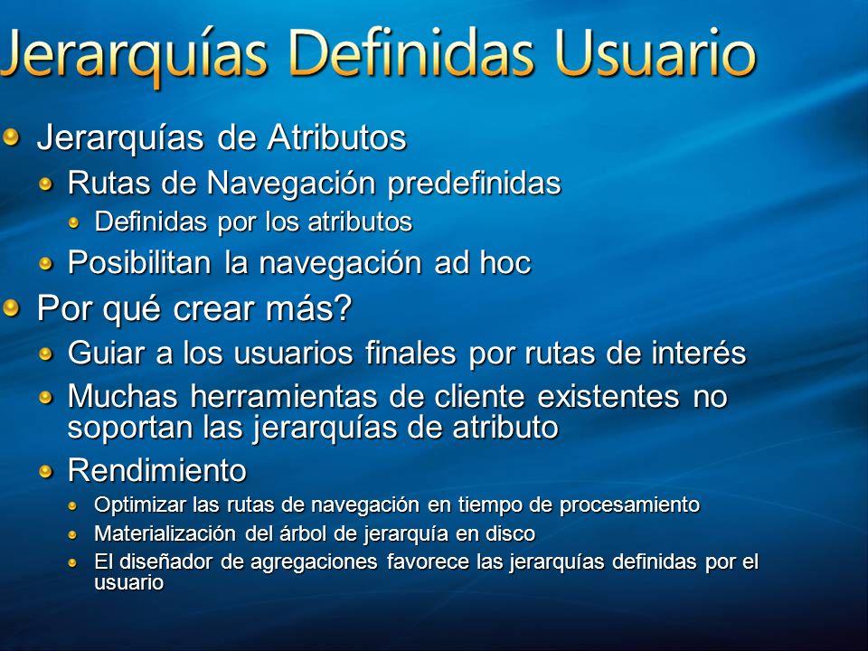 Jerarquías de Atributos Rutas de Navegación predefinidas Definidas por los atributos Posibilitan la navegación ad hoc Por qué crear más? Guiar a los u