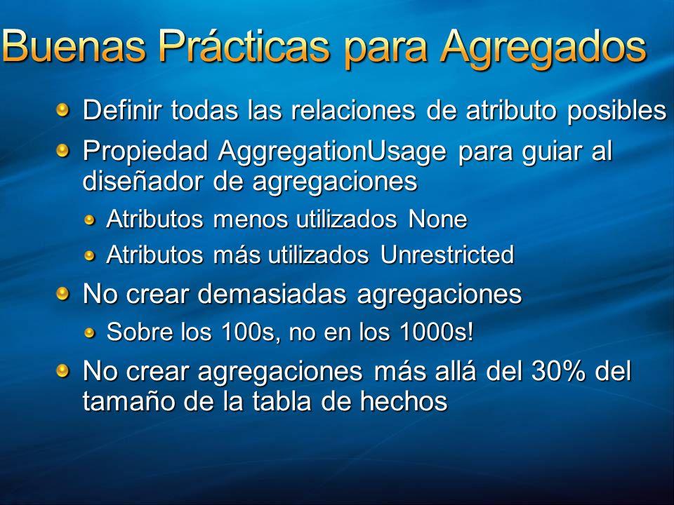 Definir todas las relaciones de atributo posibles Propiedad AggregationUsage para guiar al diseñador de agregaciones Atributos menos utilizados None A