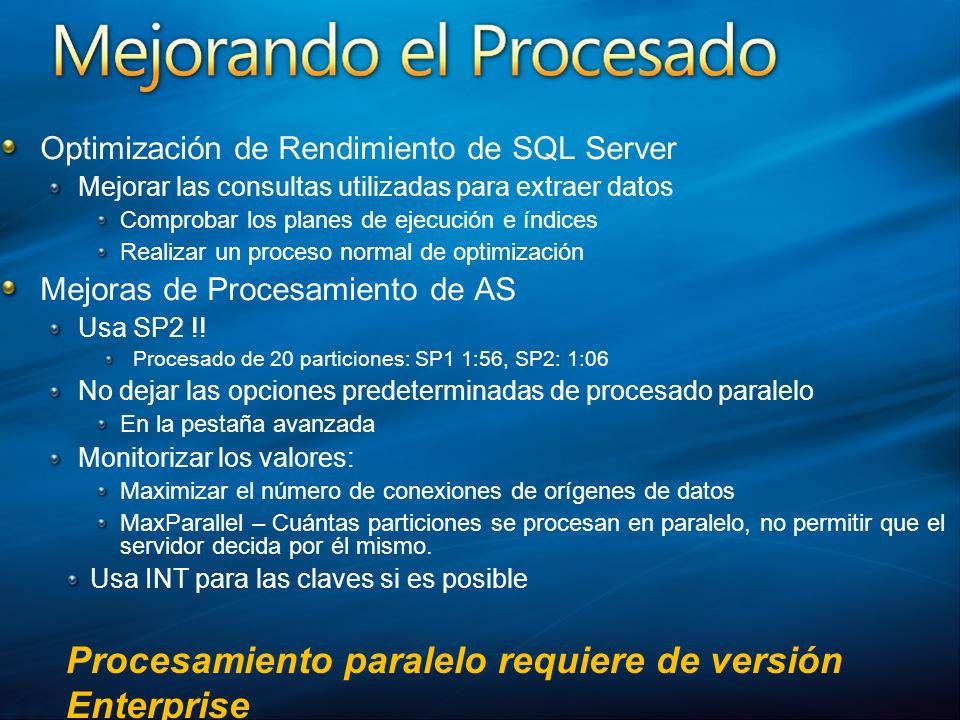 Optimización de Rendimiento de SQL Server Mejorar las consultas utilizadas para extraer datos Comprobar los planes de ejecución e índices Realizar un