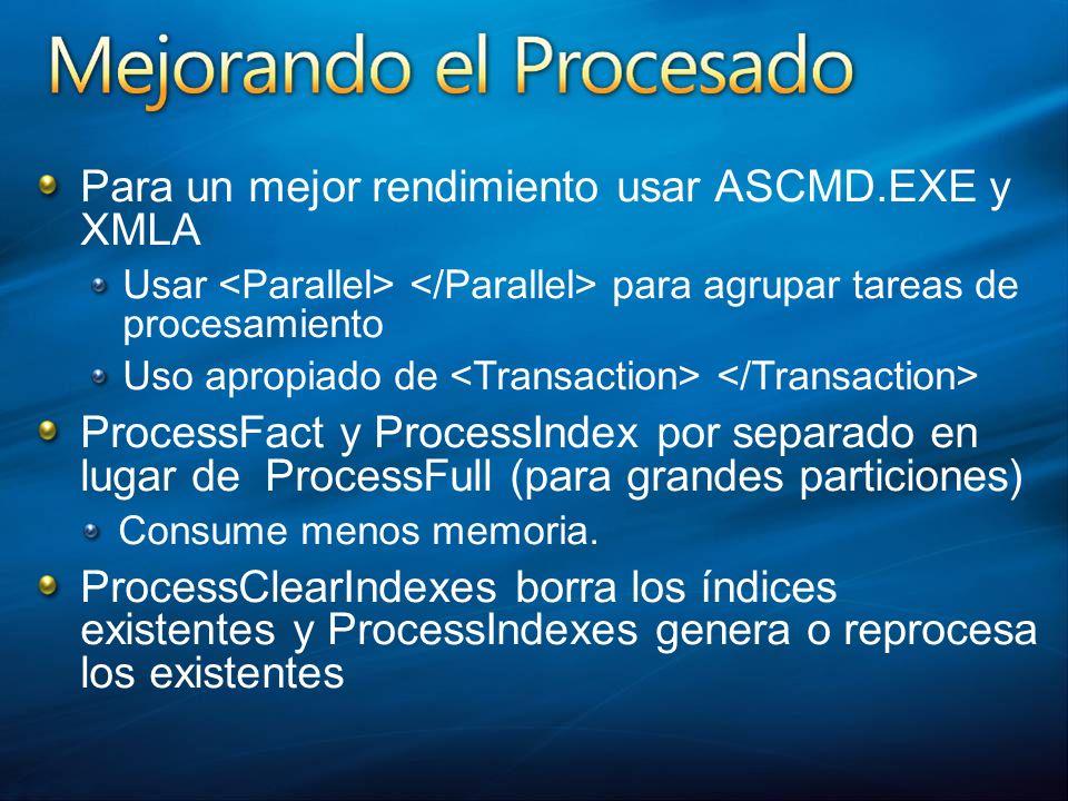 Para un mejor rendimiento usar ASCMD.EXE y XMLA Usar para agrupar tareas de procesamiento Uso apropiado de ProcessFact y ProcessIndex por separado en