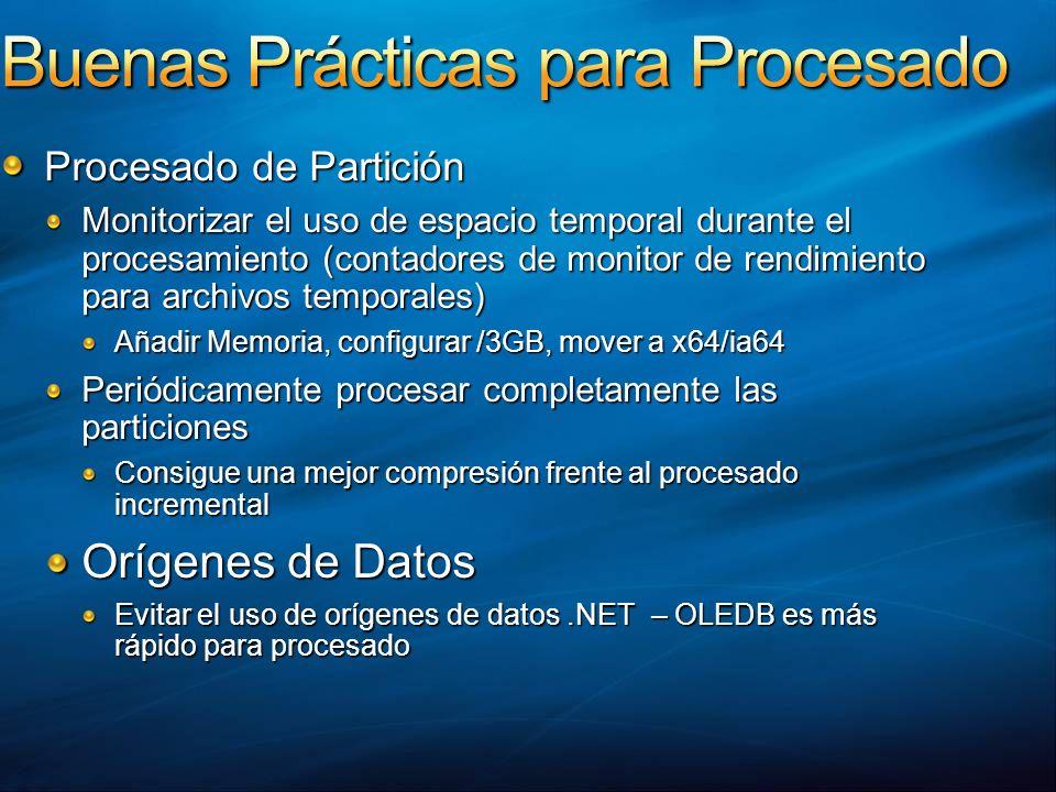 Procesado de Partición Monitorizar el uso de espacio temporal durante el procesamiento (contadores de monitor de rendimiento para archivos temporales)