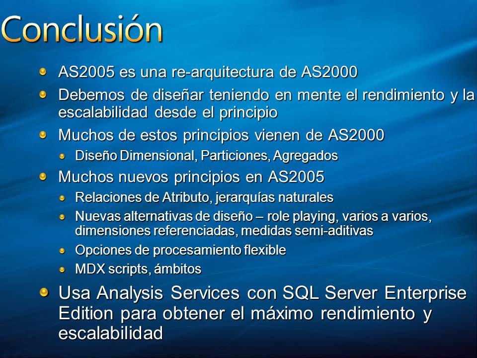 AS2005 es una re-arquitectura de AS2000 Debemos de diseñar teniendo en mente el rendimiento y la escalabilidad desde el principio Muchos de estos prin