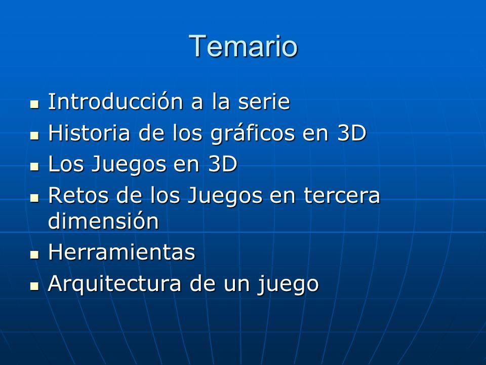 Introducción a la Serie Desarrollo de Juegos en 3D Desarrollo de Juegos en 3D DirectX y 3D ( Introducción al Pipeline de Renderizado y las matemáticas del 3D) DirectX y 3D ( Introducción al Pipeline de Renderizado y las matemáticas del 3D) Polígonos y representación de objetos en 3D Polígonos y representación de objetos en 3D Texturas Texturas Iluminación y Cámaras Iluminación y Cámaras Movimiento y Animación Movimiento y Animación Lógica, Técnicas Avanzadas Lógica, Técnicas Avanzadas