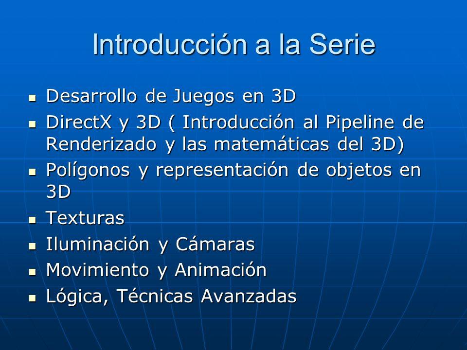 Introducción a la Serie Desarrollo de Juegos en 3D Desarrollo de Juegos en 3D DirectX y 3D ( Introducción al Pipeline de Renderizado y las matemáticas