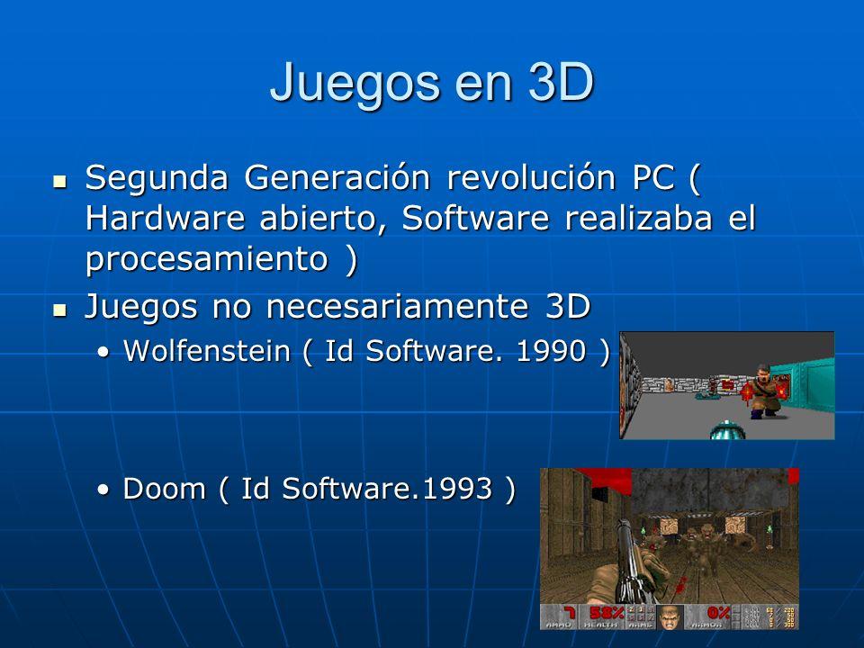 Juegos en 3D Juegos Completamente 3D ( Procesamiento 3D se realizaba en tiempo real en software ) Juegos Completamente 3D ( Procesamiento 3D se realizaba en tiempo real en software ) Quake ( Id Software.