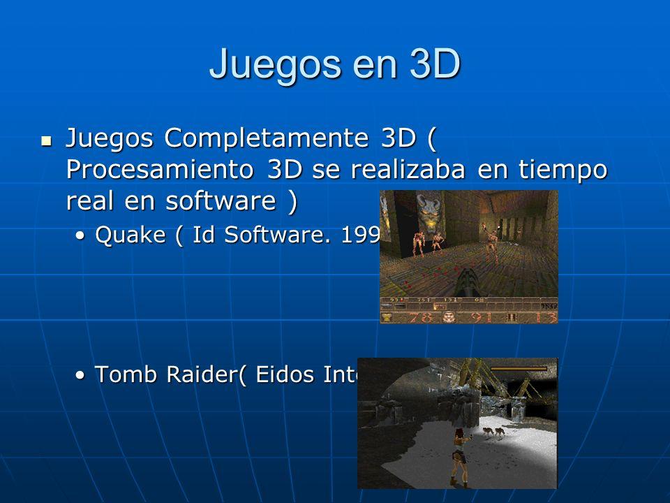 Juegos en 3D Utilización de Aceleración de Hardware Utilización de Aceleración de Hardware Iluminación en Hardware Iluminación en Hardware Quake II ( Id Software.