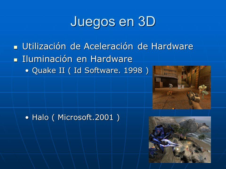 Juegos en 3D Utilización de Aceleración de Hardware Utilización de Aceleración de Hardware Iluminación en Hardware Iluminación en Hardware Quake II (