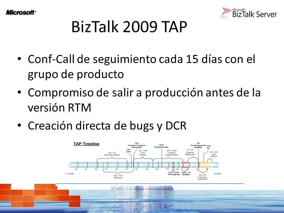 BizTalk 2009 TAP Conf-Call de seguimiento cada 15 días con el grupo de producto Compromiso de salir a producción antes de la versión RTM Creación directa de bugs y DCR