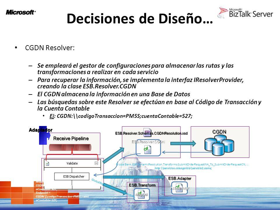 Decisiones de Diseño… CGDN Resolver: – Se empleará el gestor de configuraciones para almacenar las rutas y las transformaciones a realizar en cada ser