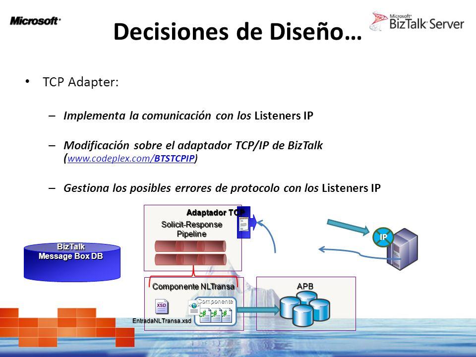 Decisiones de Diseño… TCP Adapter: – Implementa la comunicación con los Listeners IP – Modificación sobre el adaptador TCP/IP de BizTalk ( www.codeple