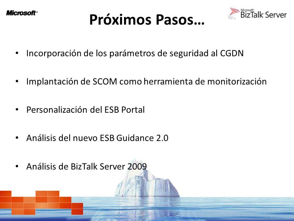 Próximos Pasos… Incorporación de los parámetros de seguridad al CGDN Implantación de SCOM como herramienta de monitorización Personalización del ESB P