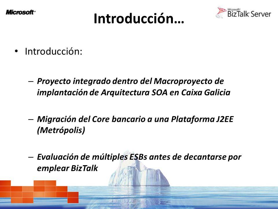 Introducción… Introducción: – Proyecto integrado dentro del Macroproyecto de implantación de Arquitectura SOA en Caixa Galicia – Migración del Core ba