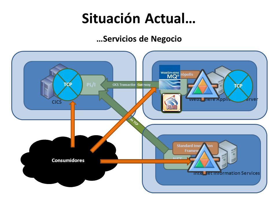Situación Actual… …Servicios de Negocio CICS PL/I WebSphere Application Server J2EE CICS Transaction Gateway Internet Information Services.NET Tiras T