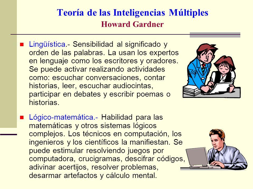 Teoría de las Inteligencias Múltiples Howard Gardner Lingüística.- Sensibilidad al significado y orden de las palabras. La usan los expertos en lengua