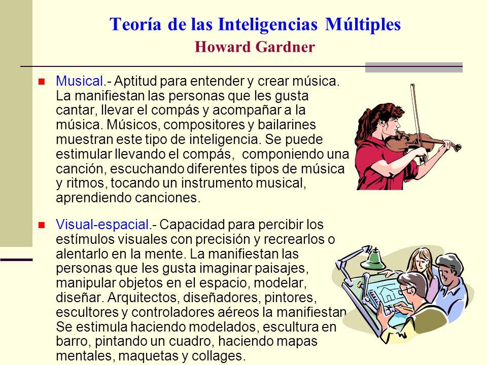 Teoría de las Inteligencias Múltiples Howard Gardner Musical.- Aptitud para entender y crear música. La manifiestan las personas que les gusta cantar,