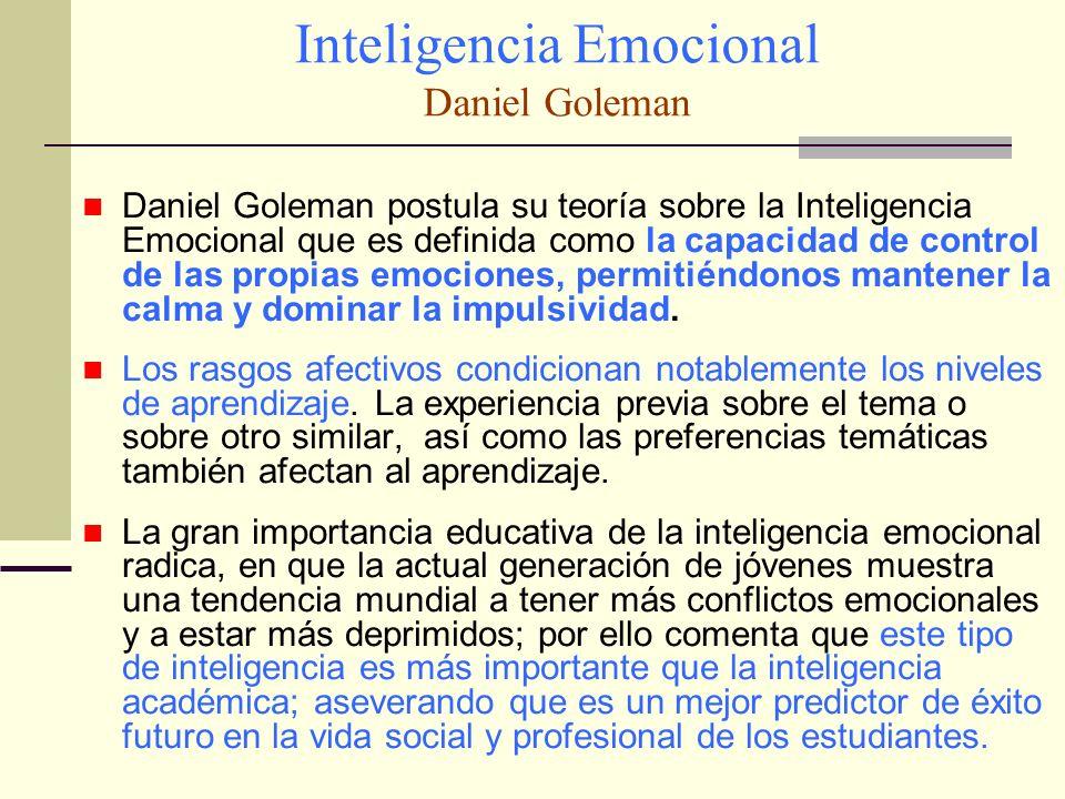 Inteligencia Emocional Daniel Goleman Daniel Goleman postula su teoría sobre la Inteligencia Emocional que es definida como la capacidad de control de