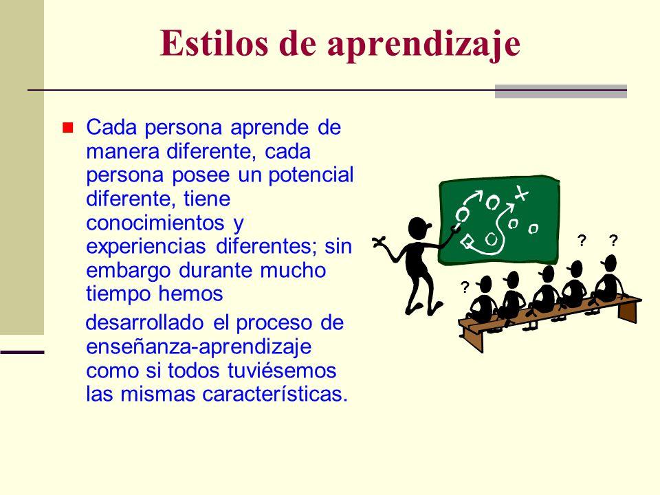 Estilos de aprendizaje Cada persona aprende de manera diferente, cada persona posee un potencial diferente, tiene conocimientos y experiencias diferen