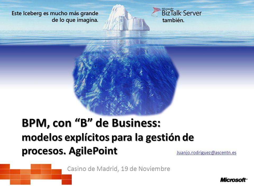 BPM, con B de Business: modelos explícitos para la gestión de procesos. AgilePoint Casino de Madrid, 19 de Noviembre Juanjo.rodriguez@ascentn.es