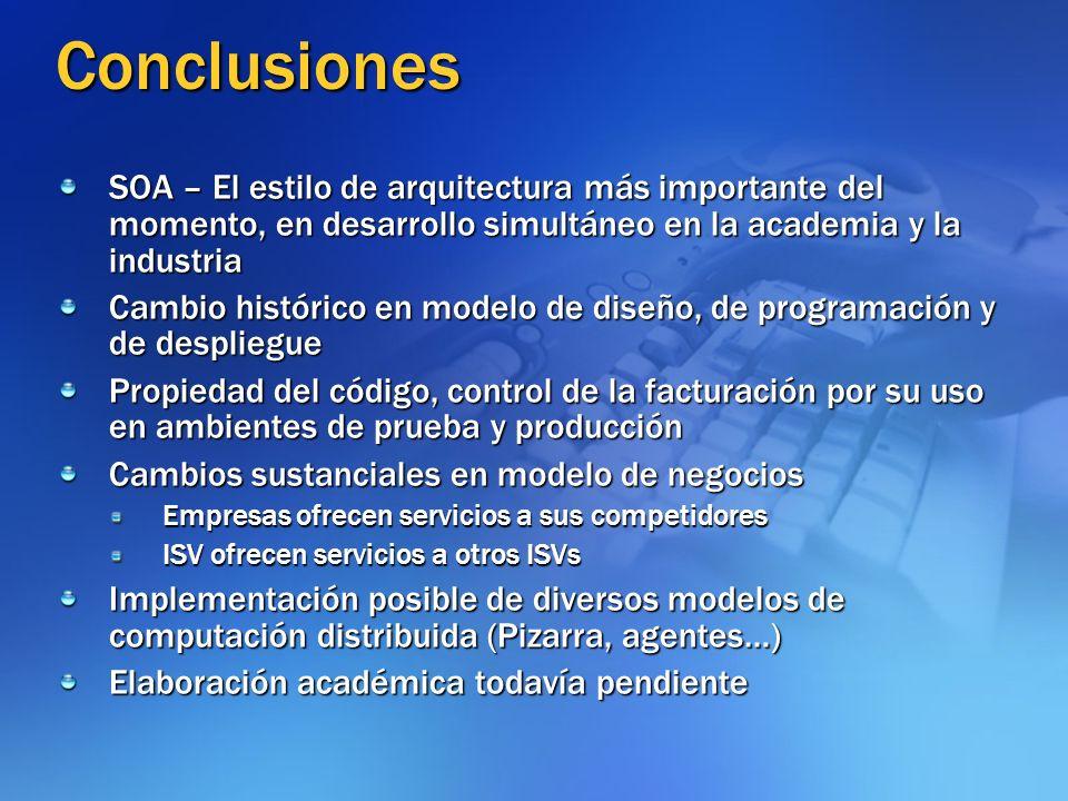 Conclusiones SOA – El estilo de arquitectura más importante del momento, en desarrollo simultáneo en la academia y la industria Cambio histórico en mo
