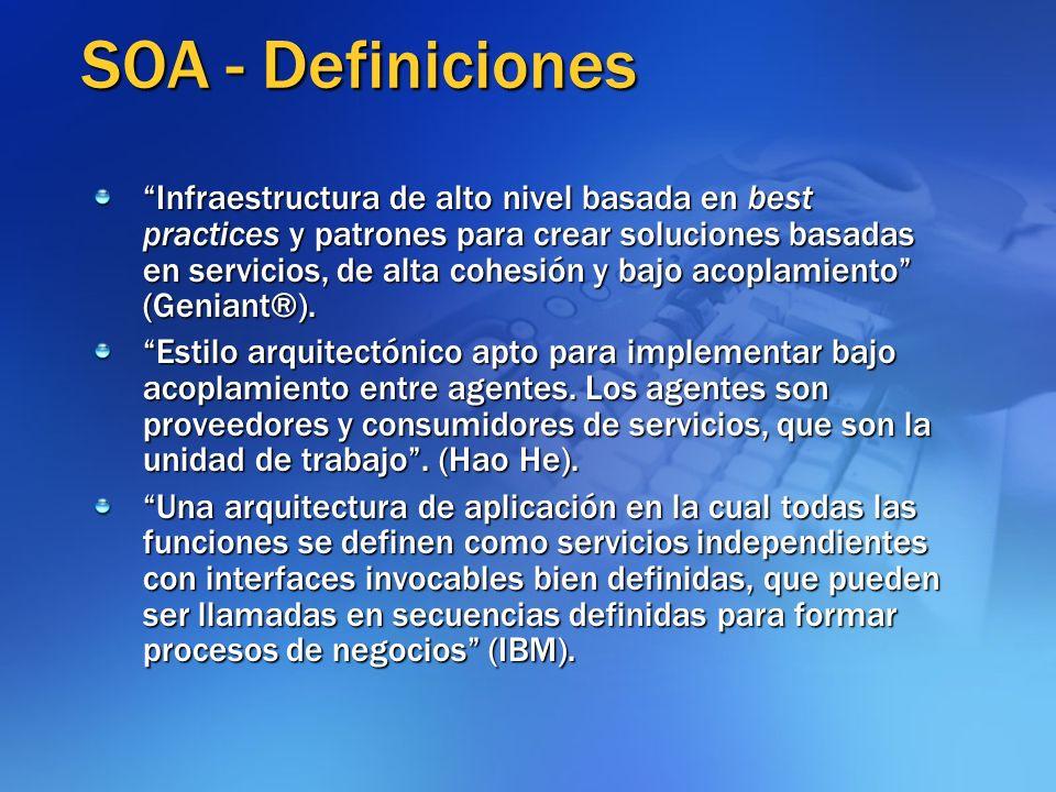 SOA - Definiciones Infraestructura de alto nivel basada en best practices y patrones para crear soluciones basadas en servicios, de alta cohesión y ba