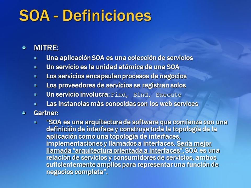 SOA - Definiciones MITRE: Una aplicación SOA es una colección de servicios Un servicio es la unidad atómica de una SOA Los servicios encapsulan proces