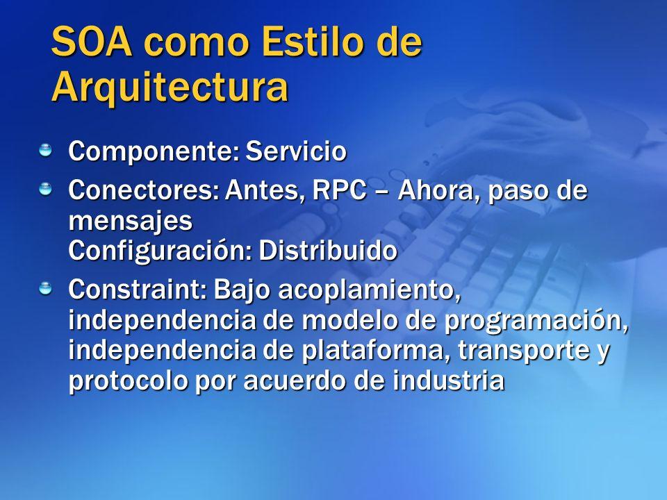 SOA como Estilo de Arquitectura Componente: Servicio Conectores: Antes, RPC – Ahora, paso de mensajes Configuración: Distribuido Constraint: Bajo acop