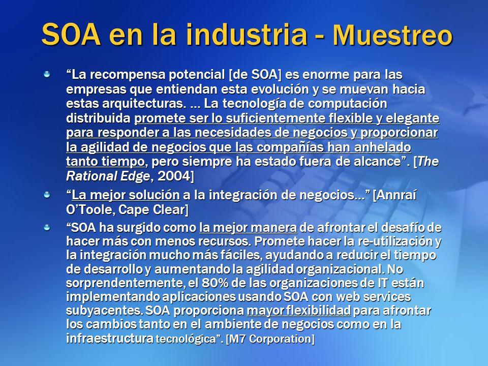 SOA en la industria - Muestreo La recompensa potencial [de SOA] es enorme para las empresas que entiendan esta evolución y se muevan hacia estas arqui