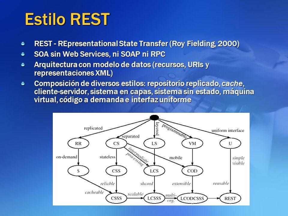 Estilo REST REST - REpresentational State Transfer (Roy Fielding, 2000) SOA sin Web Services, ni SOAP ni RPC Arquitectura con modelo de datos (recurso