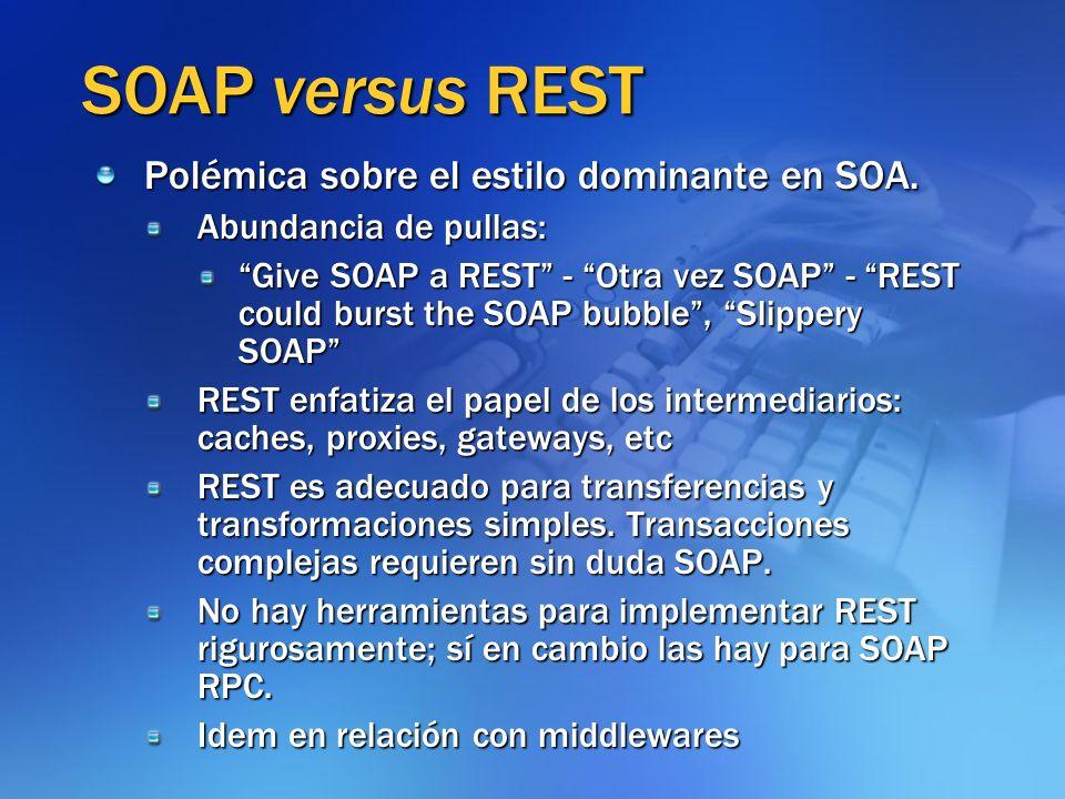 SOAP versus REST Polémica sobre el estilo dominante en SOA. Abundancia de pullas: Give SOAP a REST - Otra vez SOAP - REST could burst the SOAP bubble,