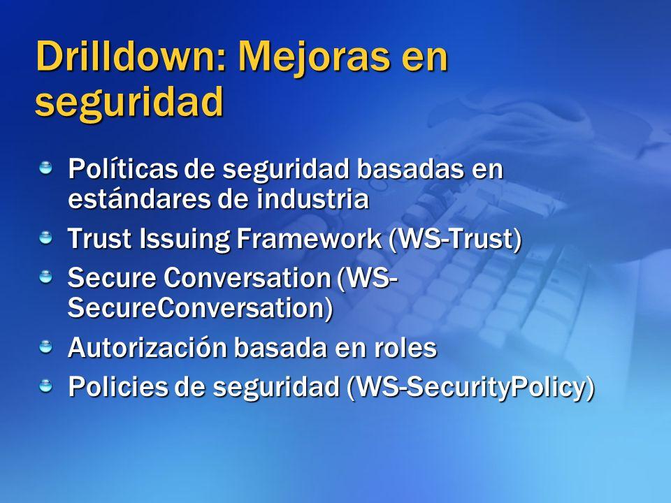Drilldown: Mejoras en seguridad Políticas de seguridad basadas en estándares de industria Trust Issuing Framework (WS-Trust) Secure Conversation (WS-