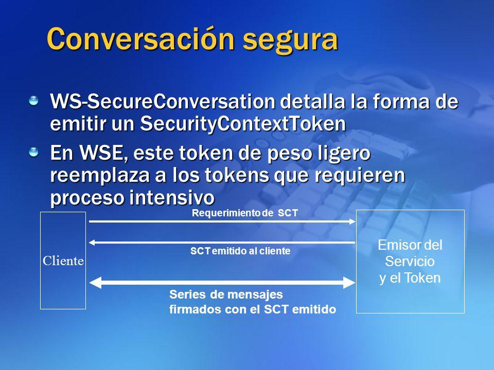 Conversación segura WS-SecureConversation detalla la forma de emitir un SecurityContextToken En WSE, este token de peso ligero reemplaza a los tokens